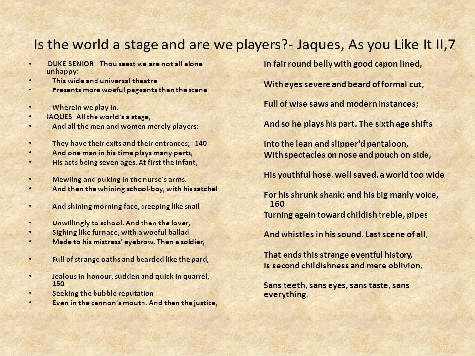 Is the world a stage and are we players - Jaques, As you Like It II,7 DUKE SENIORThou seest we are not all alone unhappy: This wide and universal theatre Presents more woeful pageants than the scene Wherein we play in.
