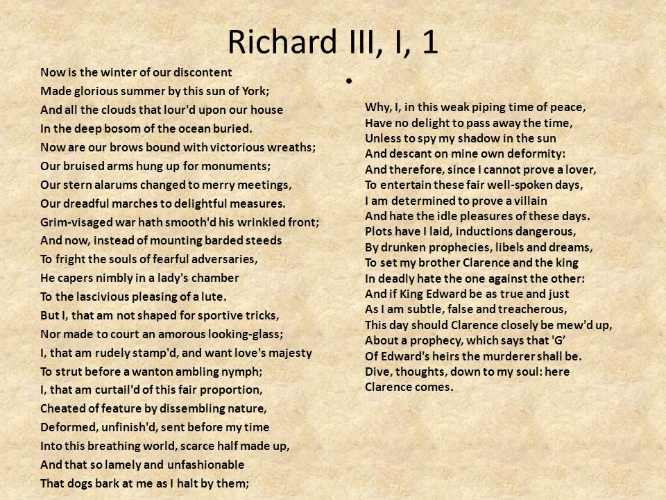 Richard III, I, 1 Now is the winter of our discontent Made glorious summer by this sun of York; And all the clouds that lour d upon our house In the deep bosom of the ocean buried.