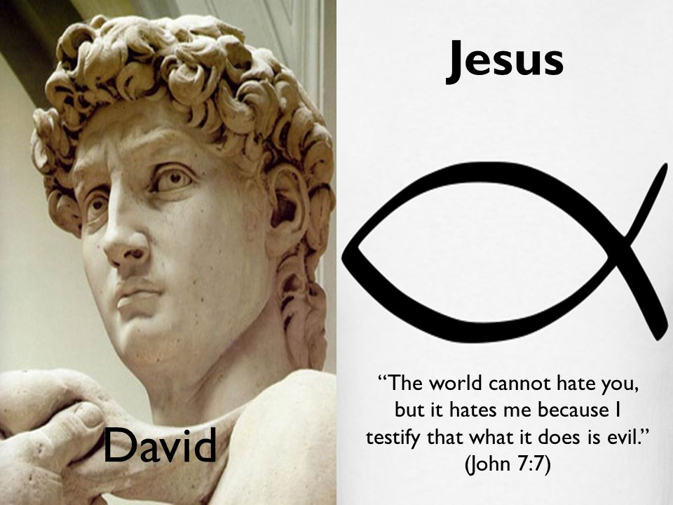 "David Jesus ""The world cannot hate you, but it hates me because I testify that what it does is evil."" (John 7:7)"