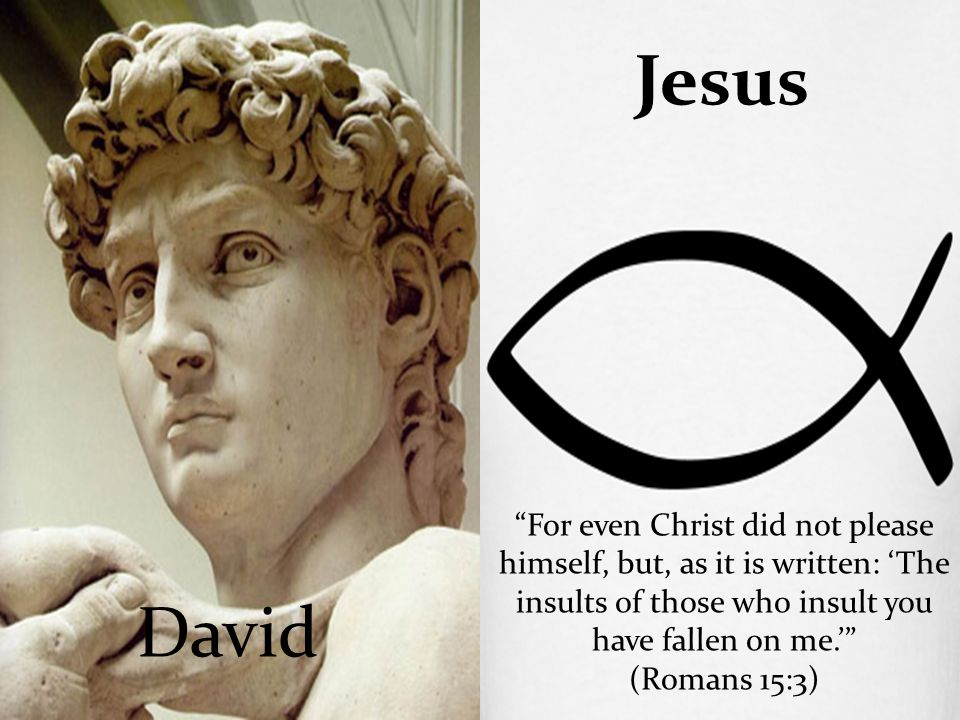 "David Jesus ""For even Christ did not please himself, but, as it is written: 'The insults of those who insult you have fallen on me.'"" (Romans 15:3)"