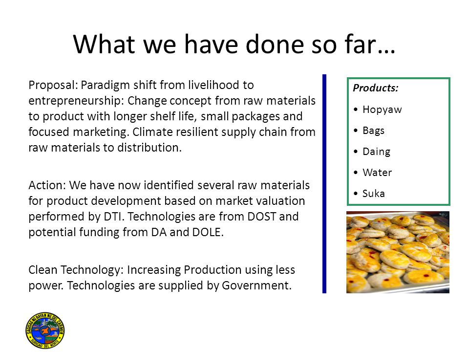 What we have done so far… Proposal: Paradigm shift from livelihood to entrepreneurship: Change concept from raw materials to product with longer shelf life, small packages and focused marketing.
