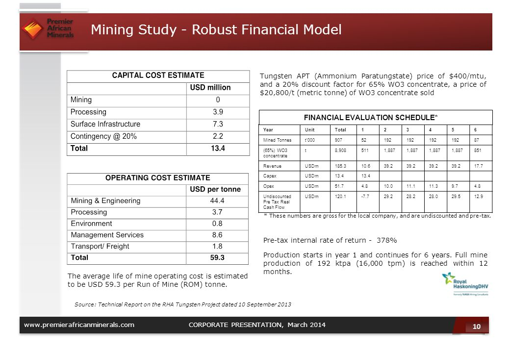 10 www.premierafricanminerals.com CORPORATE PRESENTATION, March 2014 Mining Study - Robust Financial Model The average life of mine operating cost is