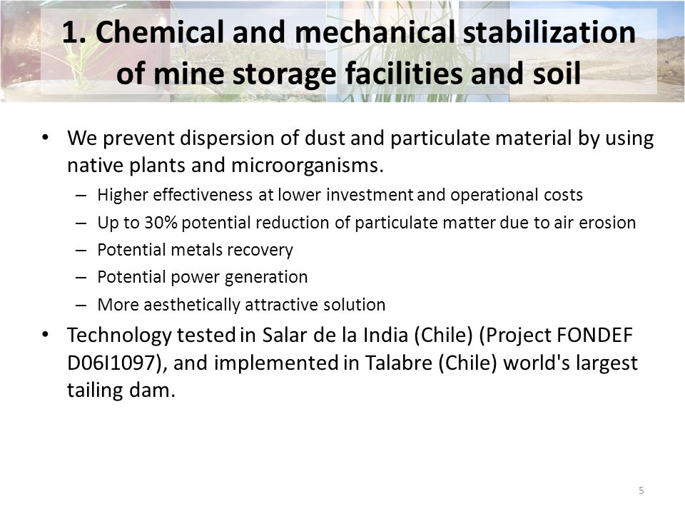 1. Chemical and mechanical stabilization of mine storage facilities and soil We prevent dispersion of dust and particulate material by using native pl