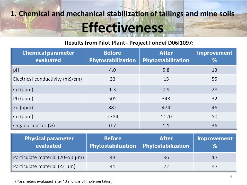 The process has three steps: Diagnosis cost: MCh$ 5,000 Implementation cost per hectare: between Mch$ 30,000 to MCh$ 37,000 (*) (*) Cost fluctuates according to the specific conditions of the site and the tailings 1.