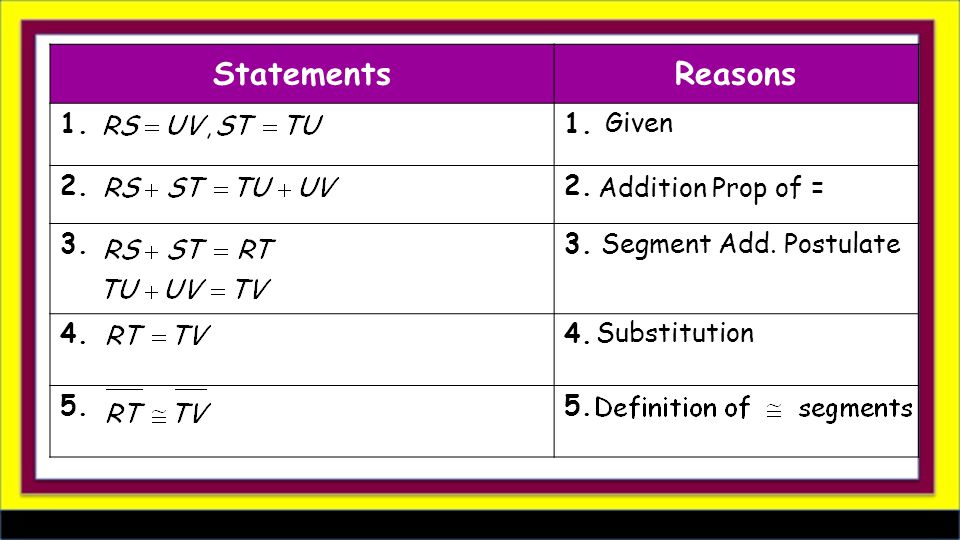 StatementsReasons 1. 2.2.. 3..3. 4. 5. Given Addition Prop of = Substitution Segment Add. Postulate