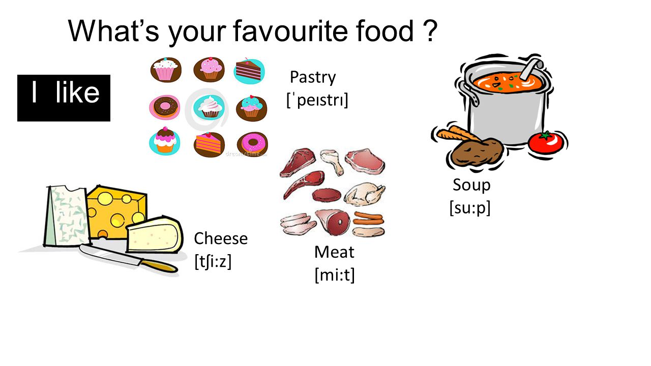 What's your favourite food ? I like Pastry [ˈpeɪstrɪ] Soup [su:p] Cheese [tʃi:z] Meat [mi:t]