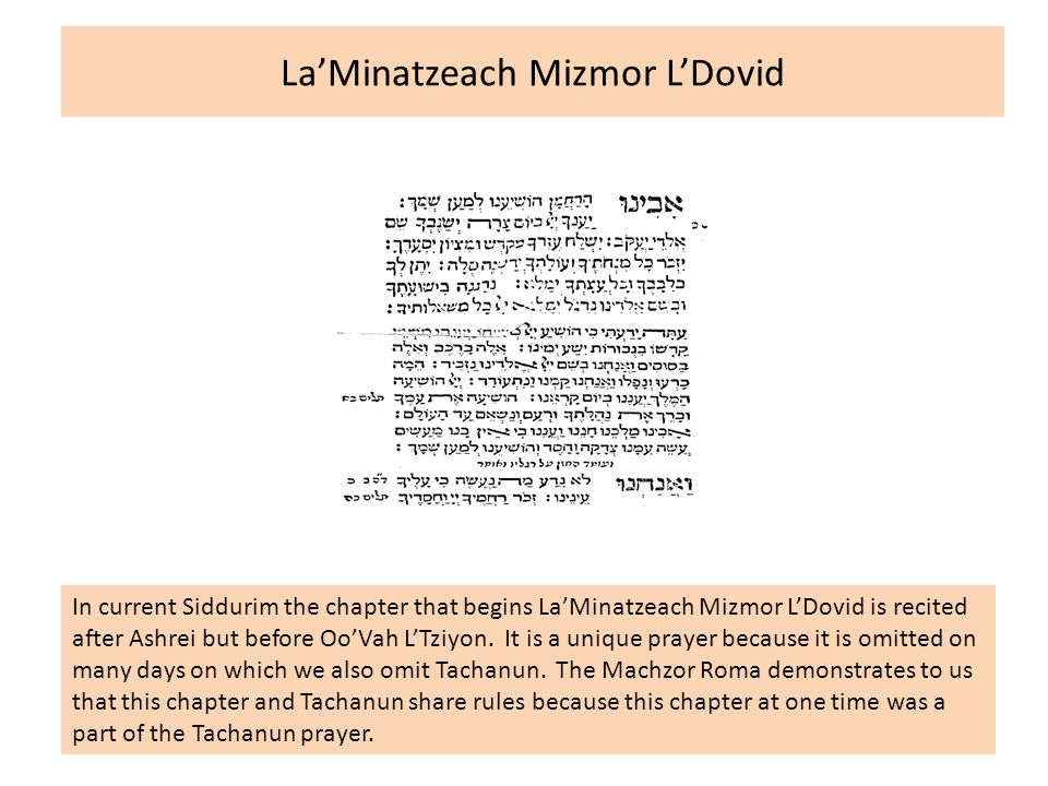La'Minatzeach Mizmor L'Dovid In current Siddurim the chapter that begins La'Minatzeach Mizmor L'Dovid is recited after Ashrei but before Oo'Vah L'Tziyon.