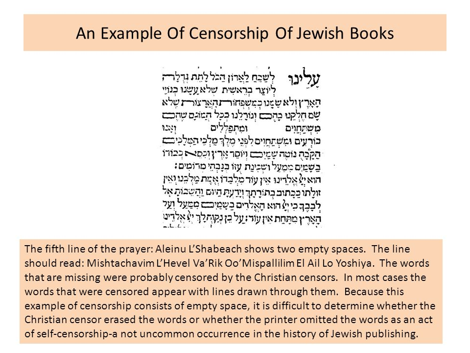 An Example Of Censorship Of Jewish Books The fifth line of the prayer: Aleinu L'Shabeach shows two empty spaces.