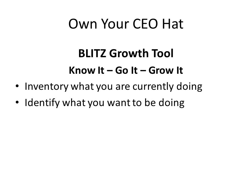 Own Your CEO Hat BLITZ Growth Tool Know It – Go It – Grow It Inventory what you are currently doing Identify what you want to be doing