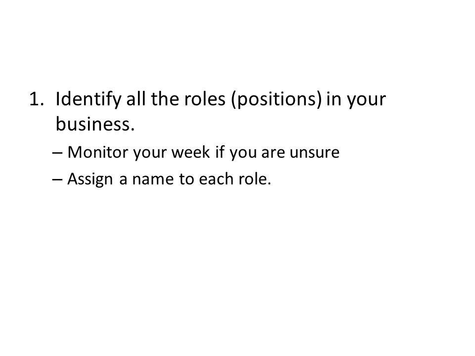 1.Identify all the roles (positions) in your business.