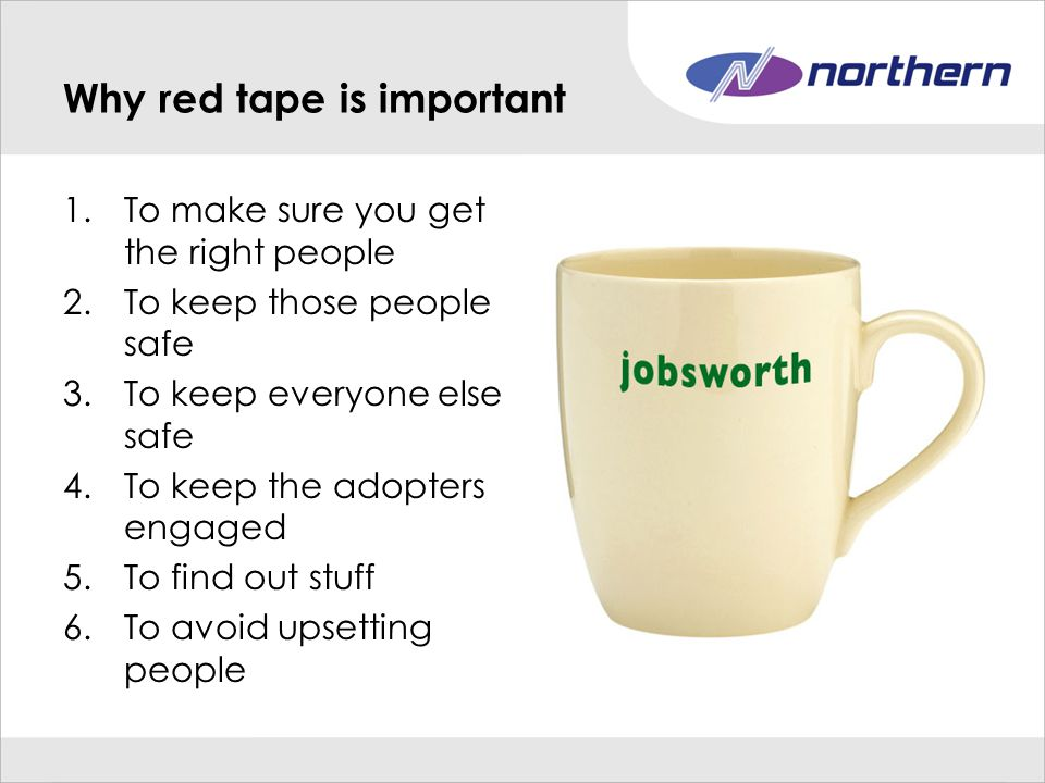 Why red tape is important 1.To make sure you get the right people 2.To keep those people safe 3.To keep everyone else safe 4.To keep the adopters engaged 5.To find out stuff 6.To avoid upsetting people