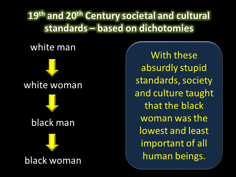 white man white woman black man black woman With these absurdly stupid standards, society and culture taught that the black woman was the lowest and least important of all human beings.