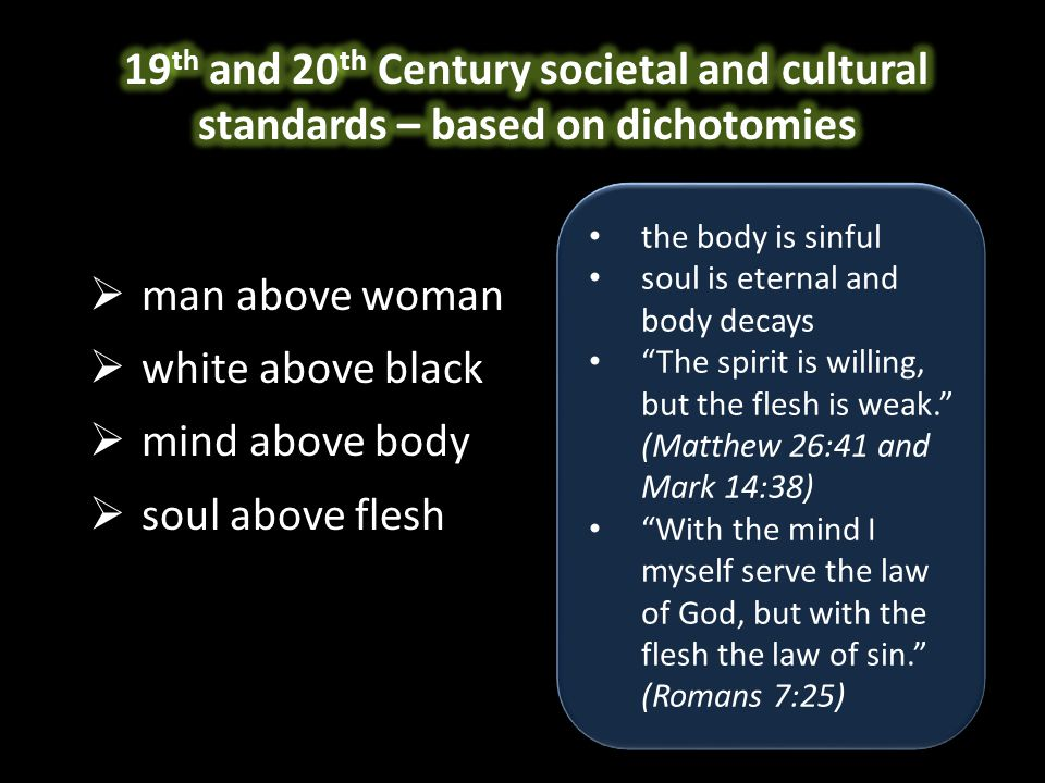  man above woman  white above black  mind above body  soul above flesh the body is sinful soul is eternal and body decays The spirit is willing, but the flesh is weak. (Matthew 26:41 and Mark 14:38) With the mind I myself serve the law of God, but with the flesh the law of sin. (Romans 7:25) the body is sinful soul is eternal and body decays The spirit is willing, but the flesh is weak. (Matthew 26:41 and Mark 14:38) With the mind I myself serve the law of God, but with the flesh the law of sin. (Romans 7:25)