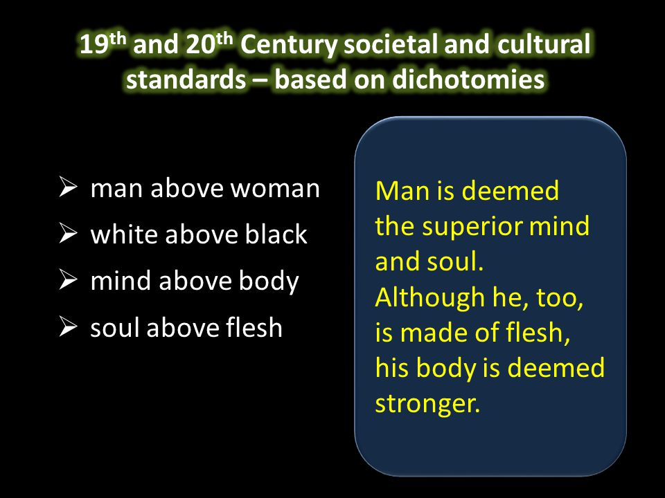  man above woman  white above black  mind above body  soul above flesh Man is deemed the superior mind and soul.