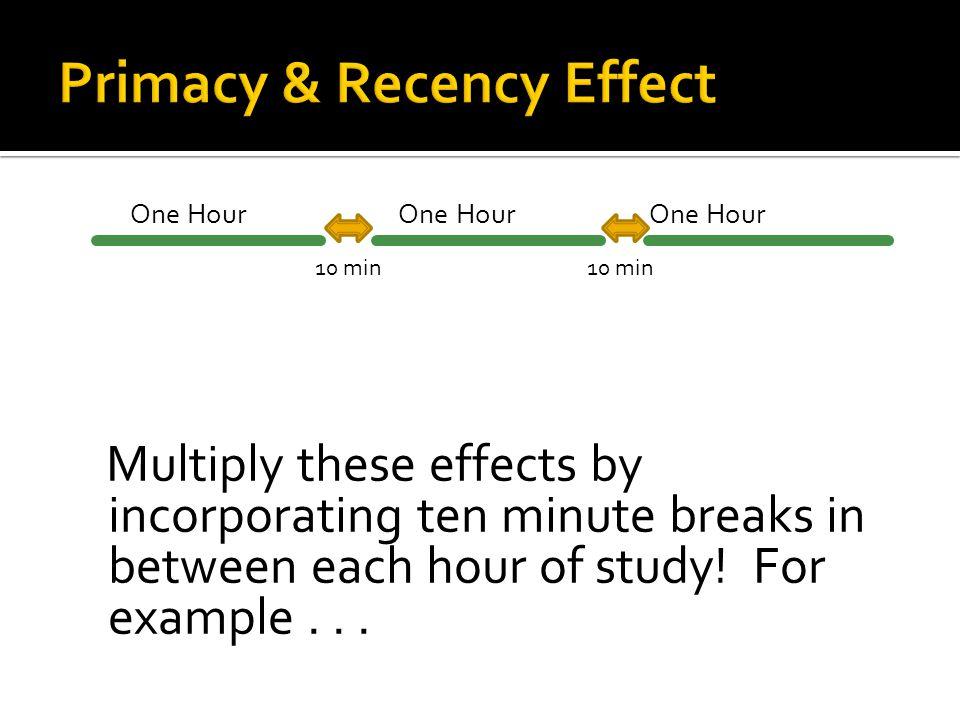 One Hour One Hour One Hour Primacy 10 min