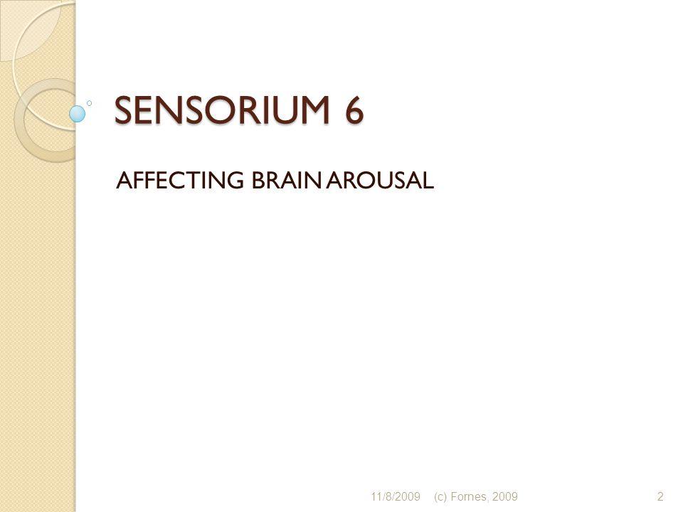 SENSORIUM 6 AFFECTING BRAIN AROUSAL 11/8/20092(c) Fornes, 2009