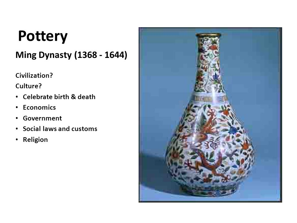 Pottery Ming Dynasty (1368 - 1644) Civilization. Culture.