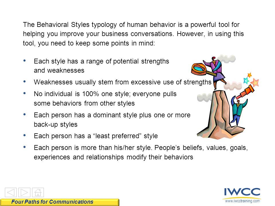 www.iwcctraining.com The Behavioral Styles typology of human behavior is a powerful tool for helping you improve your business conversations.