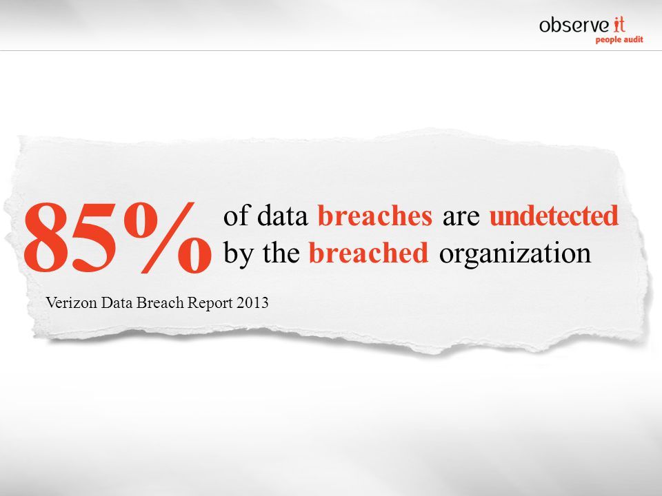 of data breaches are undetected by the breached organization Verizon Data Breach Report 2013 85%