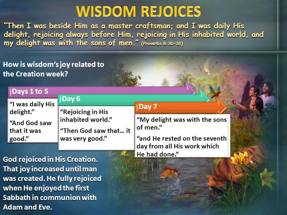 """How is wisdom's joy related to the Creation week? """"Then I was beside Him as a master craftsman; and I was daily His delight, rejoicing always before H"""