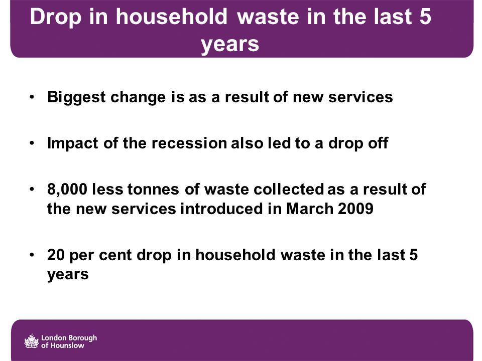 Drop in household waste in the last 5 years Biggest change is as a result of new services Impact of the recession also led to a drop off 8,000 less tonnes of waste collected as a result of the new services introduced in March 2009 20 per cent drop in household waste in the last 5 years