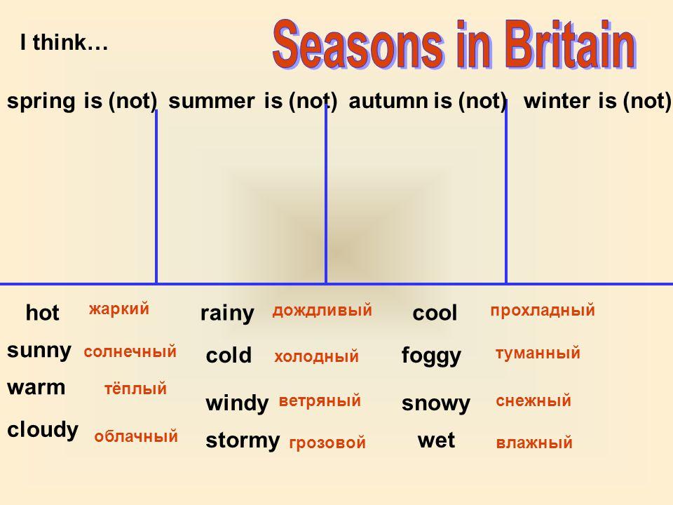 I think… springsummerautumnwinteris (not) hot sunny warm cloudy rainy cold windy stormy cool foggy snowy wet жаркий солнечный тёплый облачный дождливый холодный ветряный грозовой прохладный туманный снежный влажный is (not)