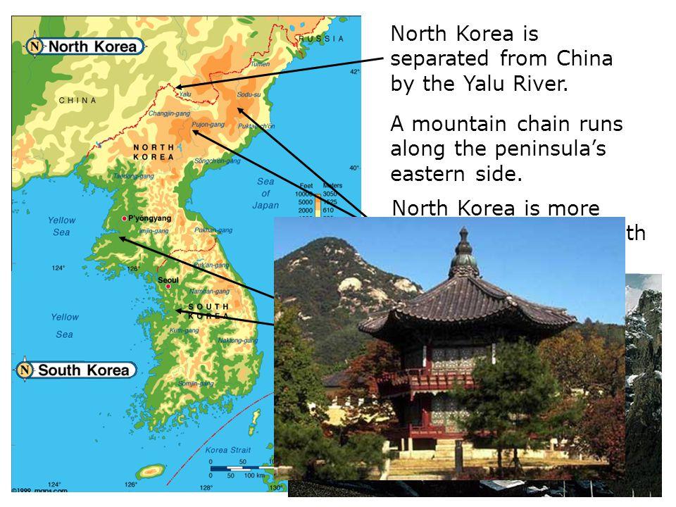 A mountain chain runs along the peninsula's eastern side.