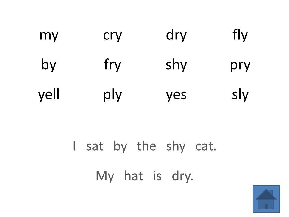 mycrydryfly byfryshypry yellplyyessly I sat by the shy cat. My hat is dry.