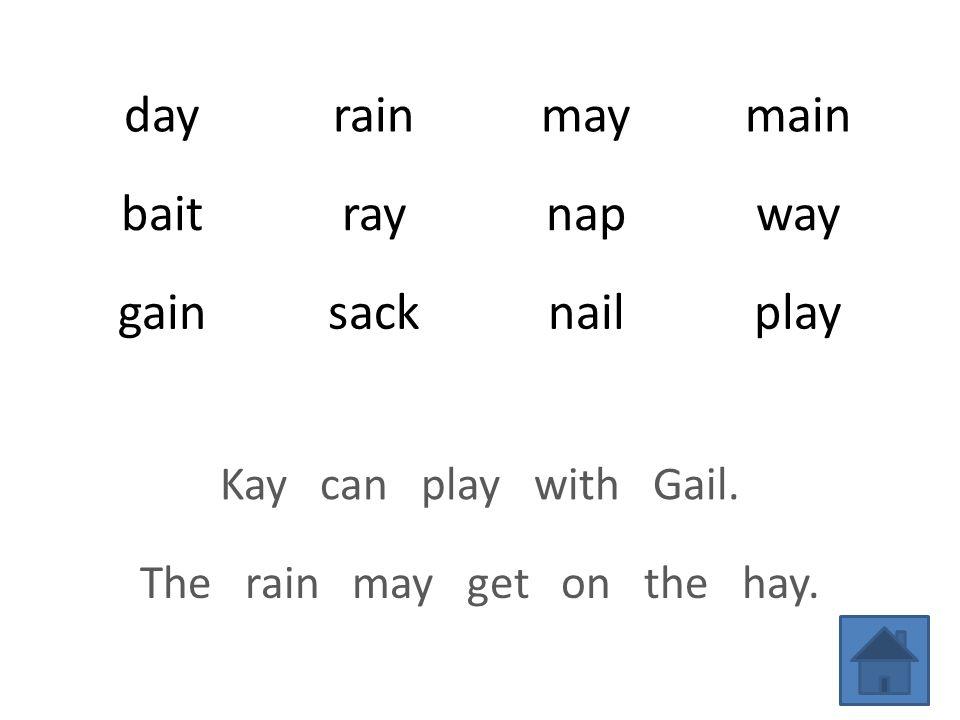 dayrainmaymain baitraynapway gainsacknailplay Kay can play with Gail. The rain may get on the hay.