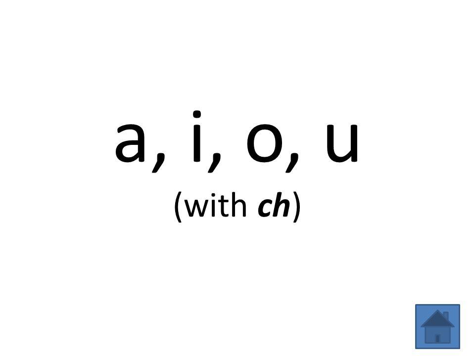 a, i, o, u (with ch)