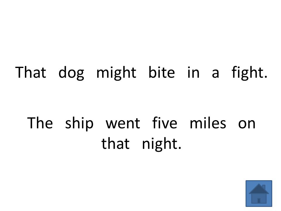 That dog might bite in a fight. The ship went five miles on that night.