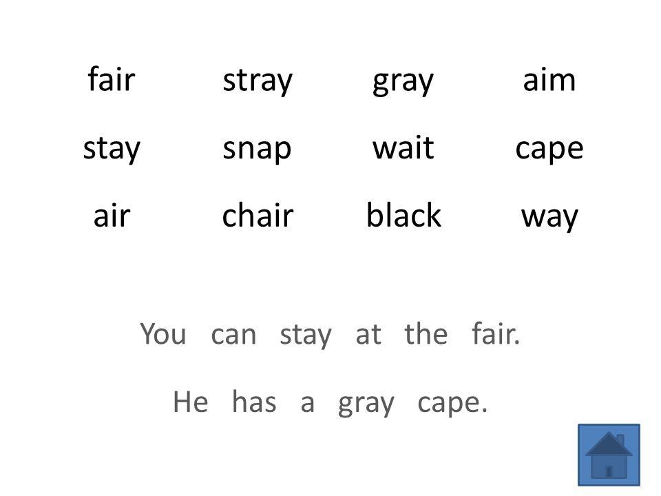 fairstraygrayaim staysnapwaitcape airchairblackway You can stay at the fair. He has a gray cape.