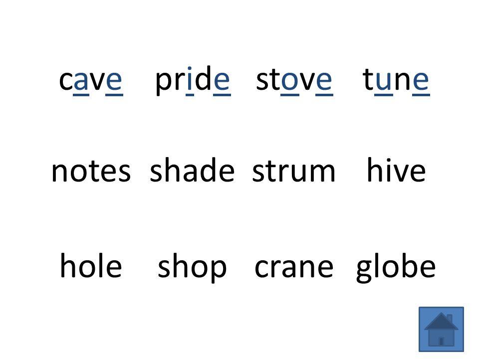 cavecave stovetunetune notesshadestrumhive holeshopcraneglobe