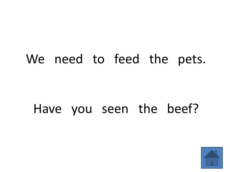 We need to feed the pets. Have you seen the beef