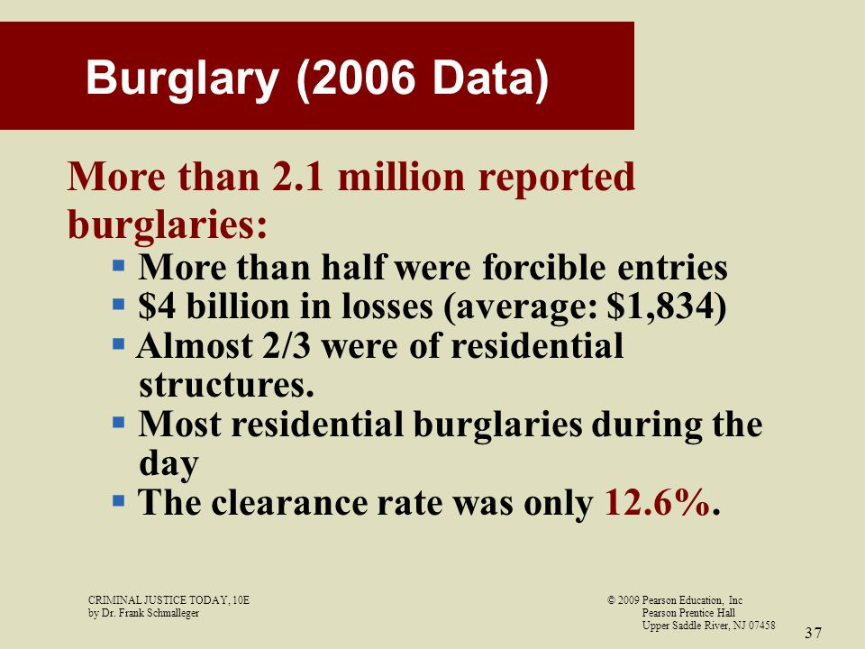 CRIMINAL JUSTICE TODAY, 10E© 2009 Pearson Education, Inc by Dr. Frank Schmalleger Pearson Prentice Hall Upper Saddle River, NJ 07458 37 Burglary (2006