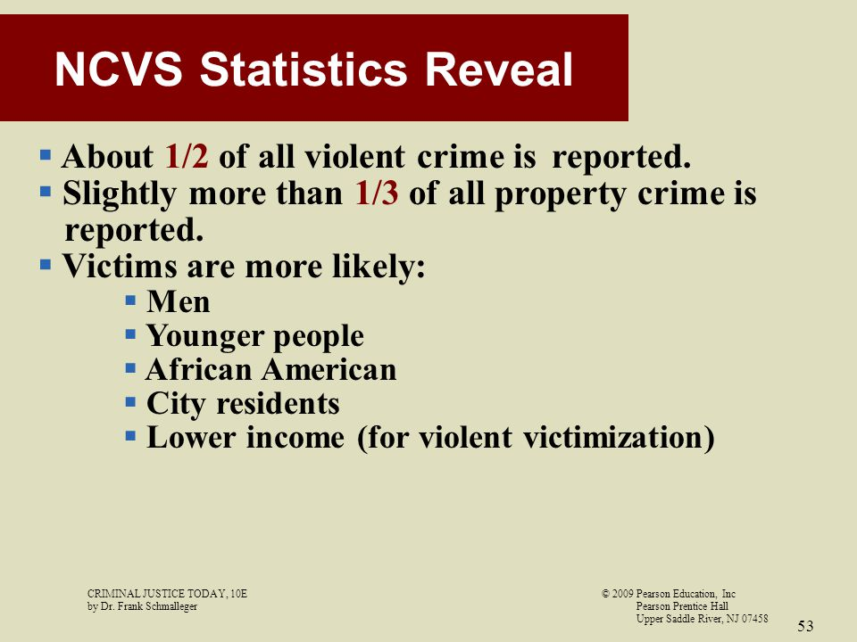 CRIMINAL JUSTICE TODAY, 10E© 2009 Pearson Education, Inc by Dr. Frank Schmalleger Pearson Prentice Hall Upper Saddle River, NJ 07458 53 NCVS Statistic