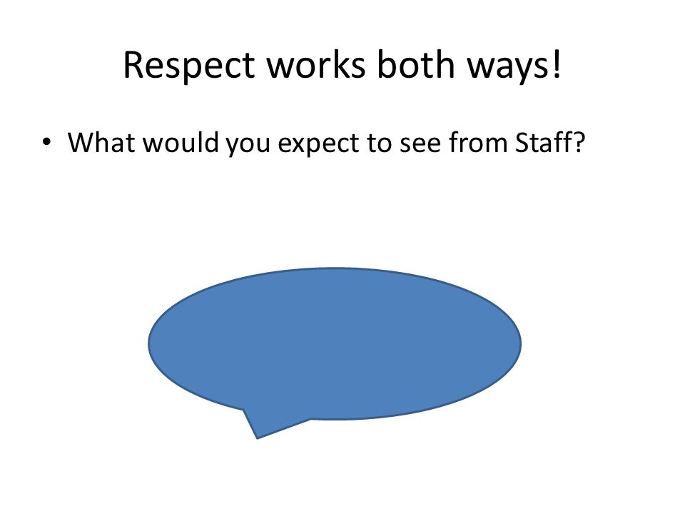 Respect works both ways! What would you expect to see from Staff?