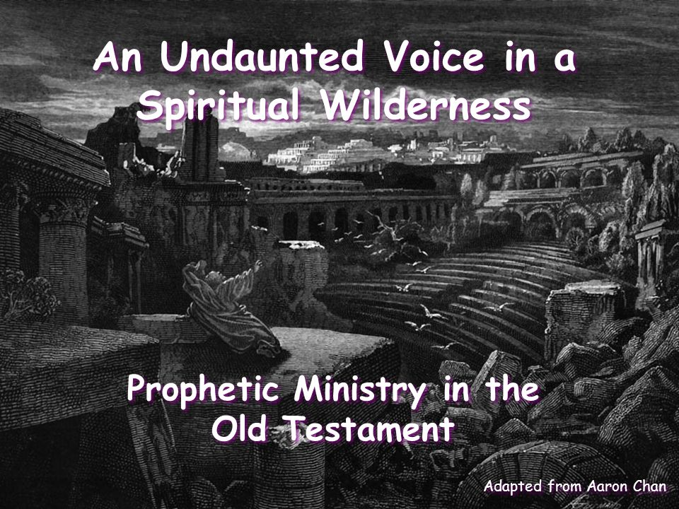 An Undaunted Voice in a Spiritual Wilderness Prophetic Ministry in the Old Testament Adapted from Aaron Chan