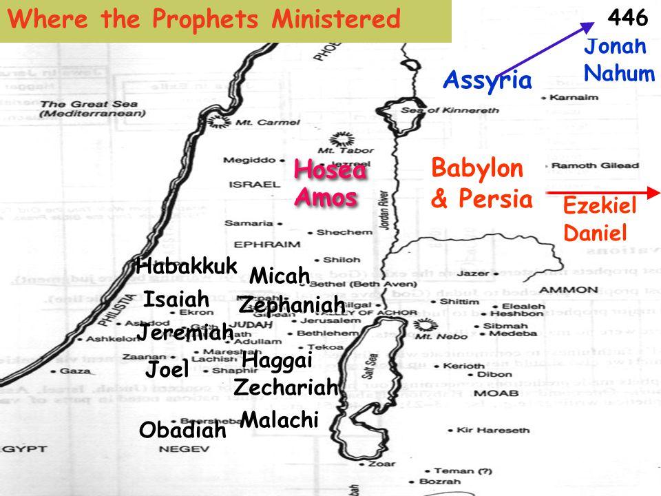 Amos Hosea Micah Isaiah Obadiah Zephaniah Jeremiah Habakkuk Nahum Ezekiel Malachi Daniel Haggai Zechariah Joel Jonah Assyria Babylon & Persia 446 Where the Prophets Ministered
