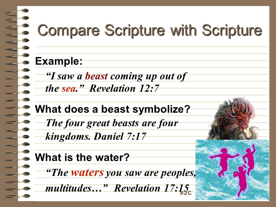 "Compare Scripture with Scripture Example: ""I saw a beast coming up out of the sea."" Revelation 12:7 What does a beast symbolize? The four great beasts"