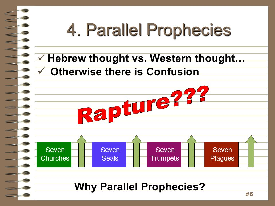 4. Parallel Prophecies Hebrew thought vs. Western thought… Otherwise there is Confusion Seven Churches Seven Seals Seven Trumpets Seven Plagues #5 Why