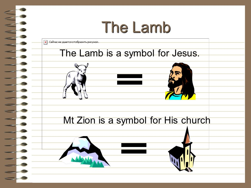 The Lamb The Lamb is a symbol for Jesus. Mt Zion is a symbol for His church