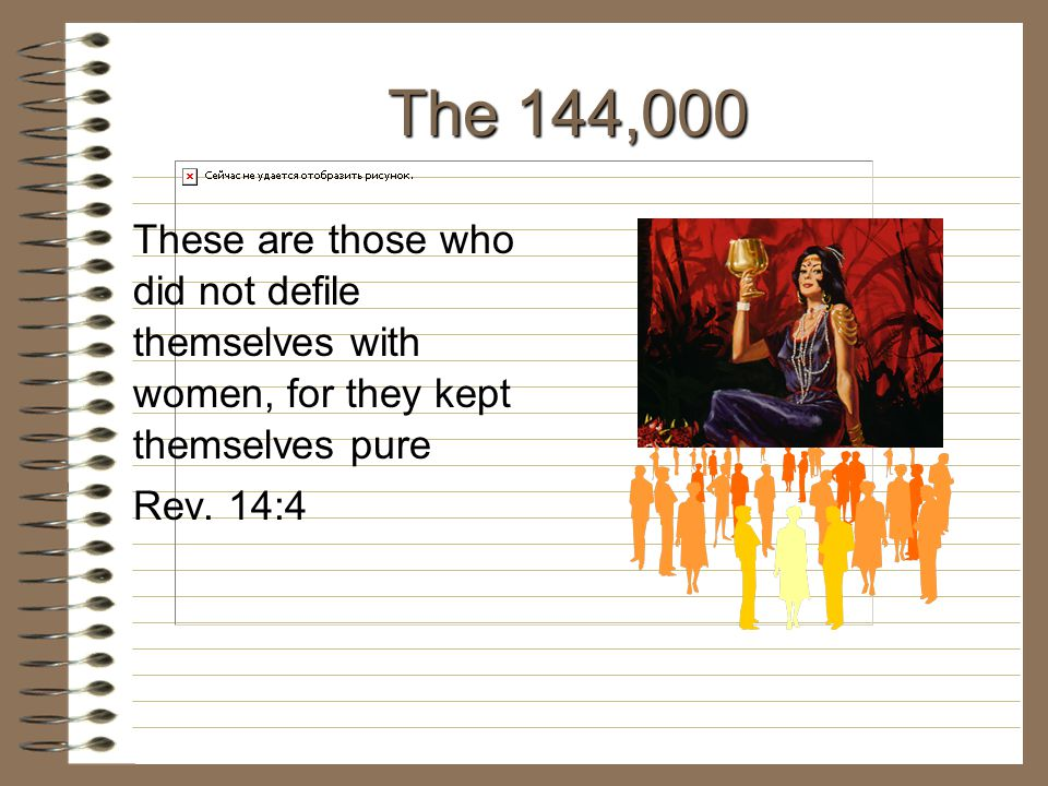 The 144,000 These are those who did not defile themselves with women, for they kept themselves pure Rev. 14:4