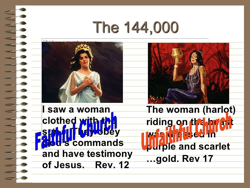 The 144,000 I saw a woman clothed with the sun… They obey God's commands and have testimony of Jesus. Rev. 12 The woman (harlot) riding on the beast w