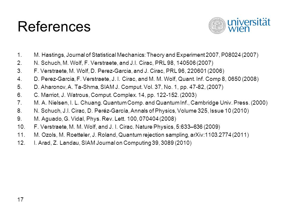17 References 1.M. Hastings, Journal of Statistical Mechanics: Theory and Experiment 2007, P08024 (2007) 2.N. Schuch, M. Wolf, F. Verstraete, and J.I.
