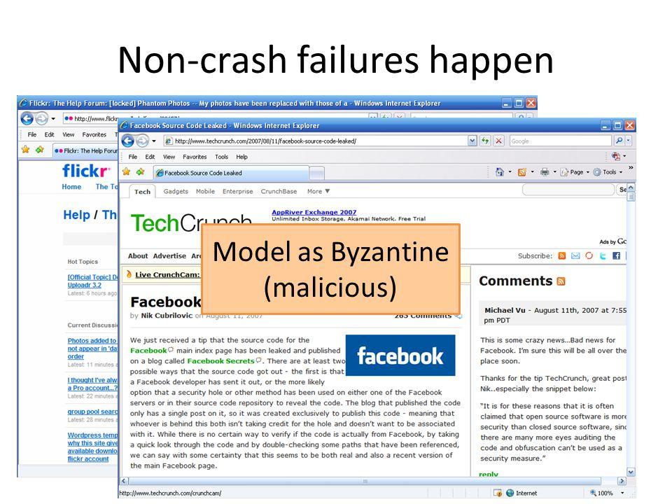 Non-crash failures happen Model as Byzantine (malicious)