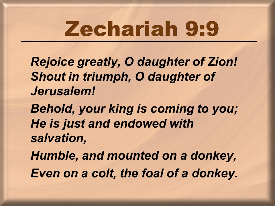 Zechariah 9:9 Rejoice greatly, O daughter of Zion.