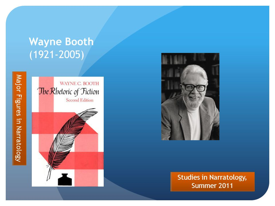 Studies in Narratology, Summer 2011 Wayne Booth (1921-2005) Major Figures in Narratology