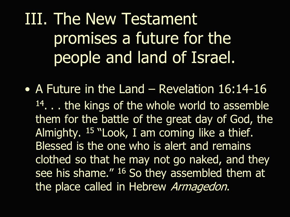 III.The New Testament promises a future for the people and land of Israel.