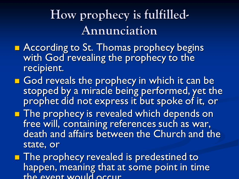 How prophecy is fulfilled- Annunciation According to St.